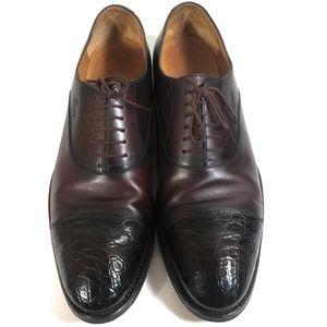 Gucci Men Brown Leather Crocodile Cap Toe Shoes 12